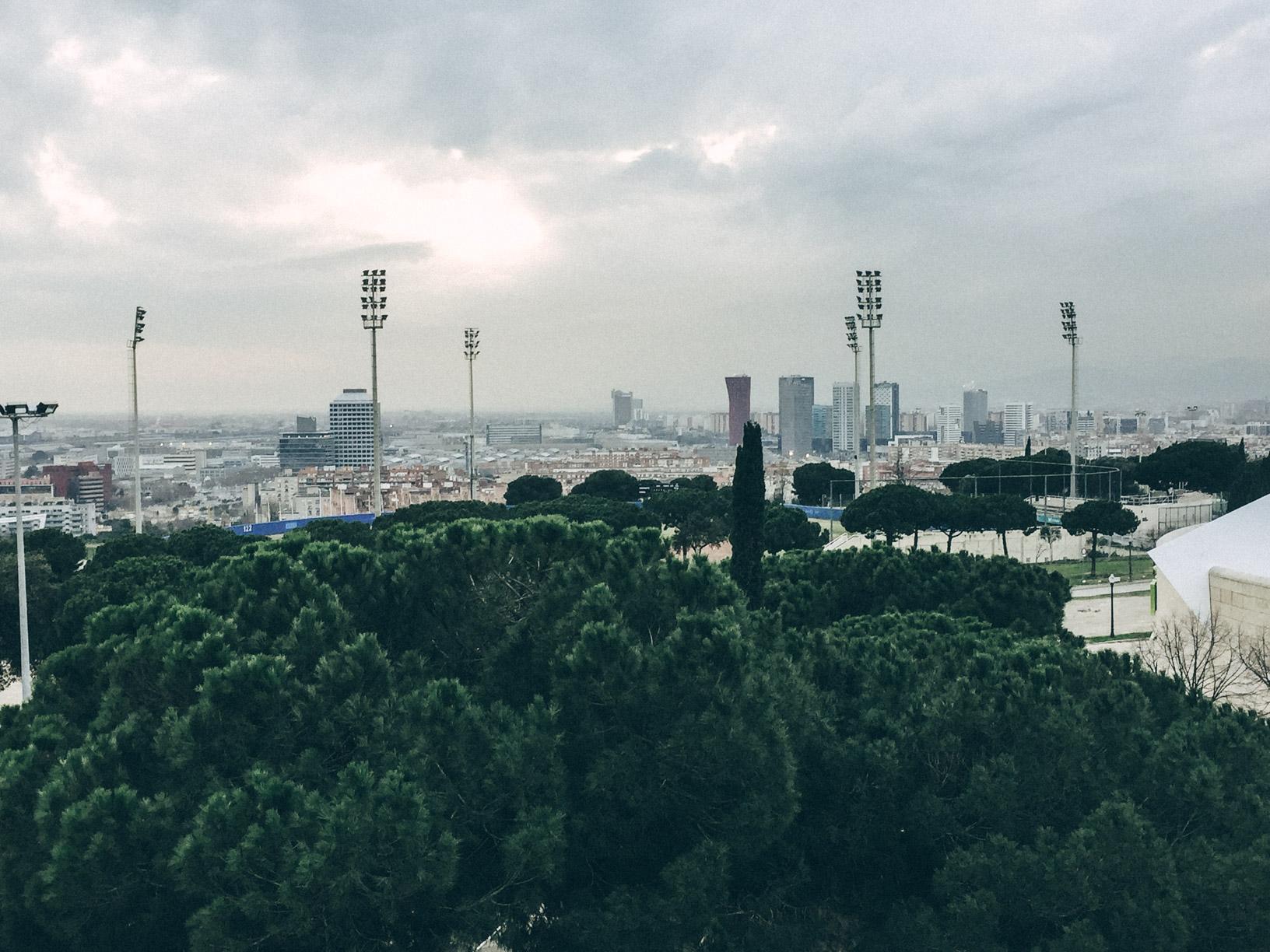 Pohľad z Montjuïc na šať Fira Barcelona